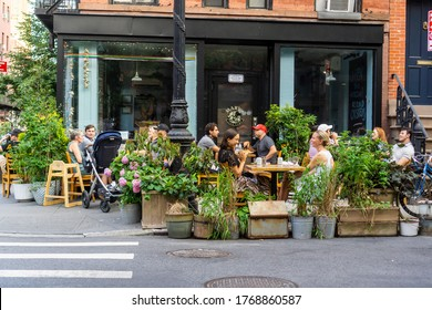 New York NY/USA-July 2, 2020 Outdoor dining at a restaurant in the Greenwich Village neighborhood in New York
