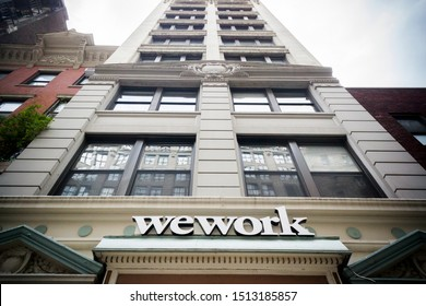 New York NY/USA-July 23, 2017 A sign announces the location of a a WeWork co-working space location in New York