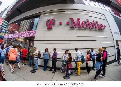 New York NY/USA-July 23, 2019 Hundreds of taco lovers descend on the T-Mobile store in Times Square for TacoBell tacos, ÒT-MoBellÓ Freeze slushies and assorted free swag.