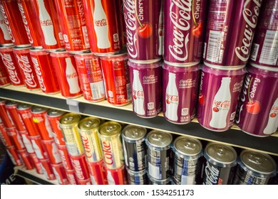 New York NY/USA-June 10, 2017 Six-packs of mini-cans of Coca-Cola in a supermarket in New York