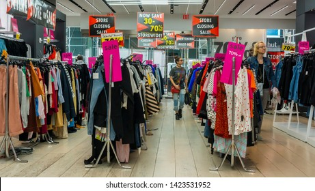 New York NY/USA-June 13, 2019 Shoppers browse the sales at the TopShop/TopMan store on Fifth Avenue in New York