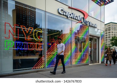 New York NY/USA-June 13, 2019 A branch of Capital One Bank in Union Square in New York is enthusiastically decorated for Stonewall 50/ Pride Month