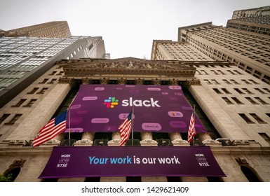 New York NY/USA-June 20, 2019 The New York Stock Exchange is decorated for the first day of trading for the workplace messaging company Slack