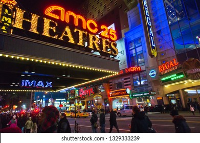 New York NY/USA-June 22, 2005 December 29, 2011 The AMC 25 and Regal Cinemas on 42nd Street in Times Square in New York
