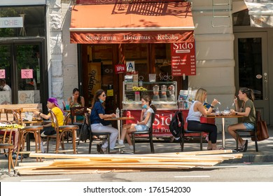 New York NY/USA-June 22, 2020 Restaurants on the Upper West Side in New York commence outdoor dining  on the first day that Phase Two of the cityÕs reopening plan