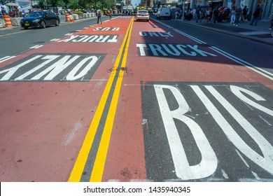 New York NY/USA-June 27, 2019 Restricted traffic lanes on 14th Street in New York