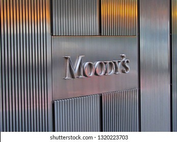 New York, NY/USA-June 6, 2015: Moody's Investor Services sign outside 7 World Trade Center in Lower Manhattan.
