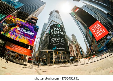 New York NY/USA-June 9, 2020 Public service advertising on the giant Nasdaq video screen in Times Square in New York