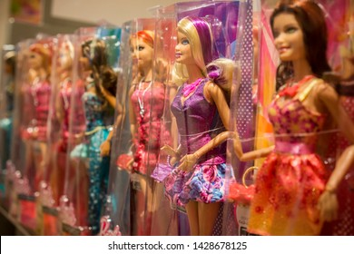 New York NY/USA-March 1, 2013 Barbie dolls are seen in their packaging in a toy store in New York
