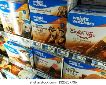 New York NY/USA-March 17, 2016 Weight Watchers brand ice cream in a supermarket freeze
