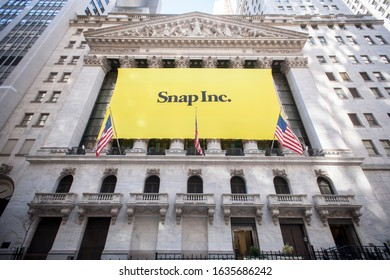 New York NY/USA-March 2, 2017 The New York Stock Exchange is decorated for the technology company Snap's initial public offering