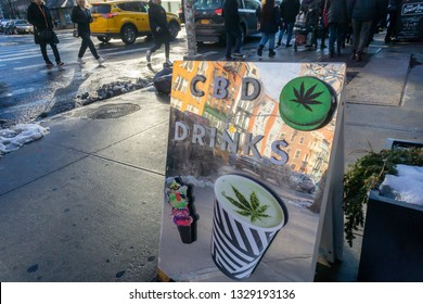 New York NY/USA-March 2, 2019 A cafe on the Lower East Side in New York advertises the availability of CBD infused beverages on its menu