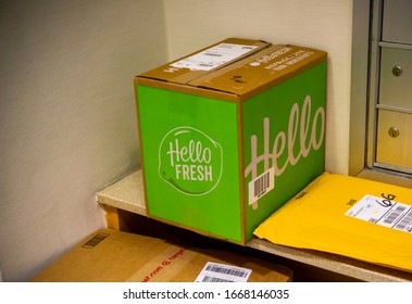 New York NY/USA-March 2, 2020 A delivery from the Hello Fresh meal subscription service waits to be picked up in the lobby of an apartment building