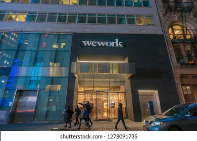 New York NY/USA-March 20, 2018 A sign announces the location of a a WeWork co-working space location in Midtown Manhattan in New York
