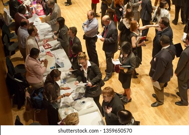 New York NY/USA-March 21, 2012 Job seekers attend a job fair on the Upper West Side in New York