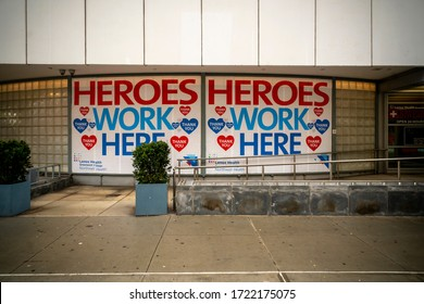 New York NY/USA-May 1, 2020 Signage thanking healthcare workers adorns the entrance to the Lenox Hill Northwell urgent care facility in Greenwich Village