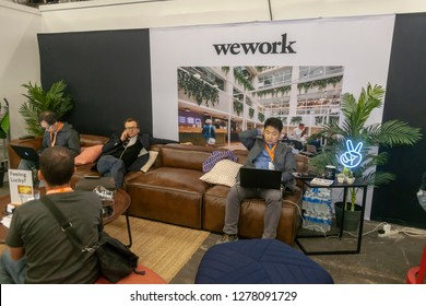 New York NY/USA-May 10, 2018 WeWork lounge ay the TechDay New York event