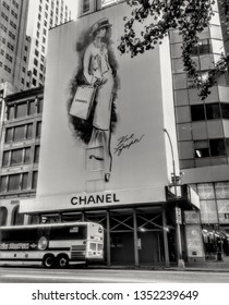 New York, NY/USA-May 13, 2018: A billboard depicting a sketch of Coco Chanel marks a space on 57th Street that will become a new store for the legendary fashion house.
