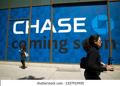 New York NY/USA-May 19, 2009 An advertisement promotes the arrival of a  JPMorgan Chase bank