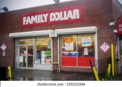 New York NY/USA-May 19, 2013 A Family Dollar store in the Ocean Hill-Brownsville neighborhood of Brooklyn in New York