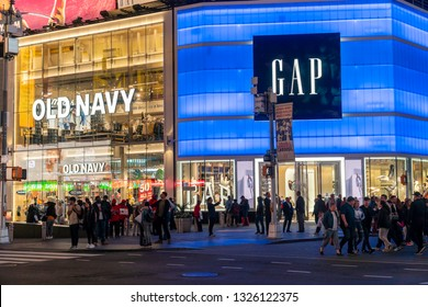 New York NY/USA-May 22, 2018 A Gap next to its Old Navy brand store in Times Square in New York
