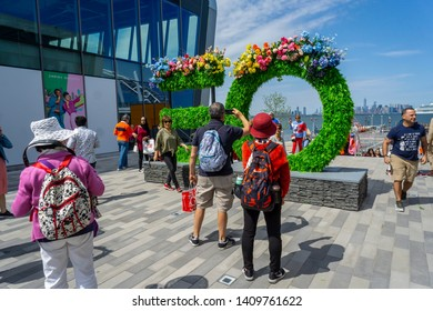 New York NY/USA-May 25, 2019 Shopping in the newly opened Empire Outlets mall in Staten Island in New York