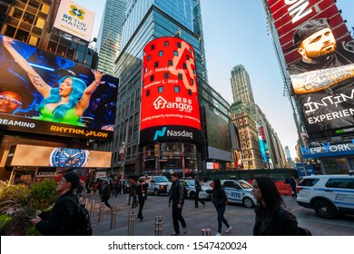 New York NY/USA-November 1, 2019 The giant video screen on the Nasdaq stock exchange in Times Square in New York decorated for the debut of the FangDD Network Group (DUO) initial public offering