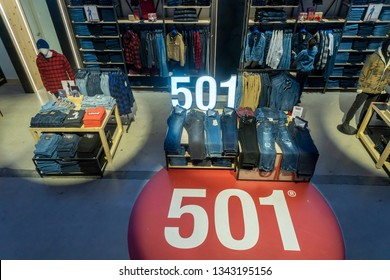 New York NY/USA-November 16, 2018 Shoppers search for denim in the Levi Strauss and Co.'s new flagship store in Times Square in New York