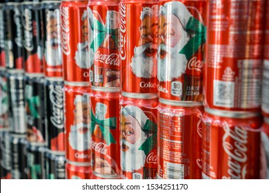 New York NY/USA-November 2, 2016 Six-packs of mini-cans of Coca-Cola featuring jolly old Santa Claus in a supermarket in New York
