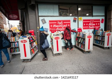 New York NY/USA-November 25, 2017 Shoppers browse the Strand bookstore in New York looking for bargains