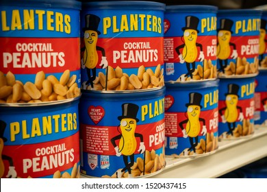 New York NY/USA-October 1, 2019 Planters brand cocktail Peanuts on sale in a grocery in New York . Planters is a brand of Kraft Heinz.