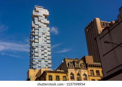 New York NY/USA-October 19, 2019 The condo skyscraper at 56 Leonard Street looms over lower Tribeca buildings in New York