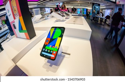 New York NY/USA-October 26, 2019  GoogleÕs Pixel 4 smartphone in a T-Mobile store in New York