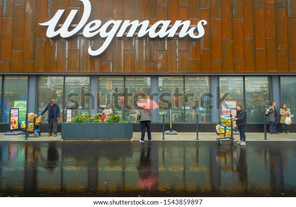 New York NY/USA-October 27, 2019 Thousands of excited shoppers flock to the Wegmans supermarket in Brooklyn in New York