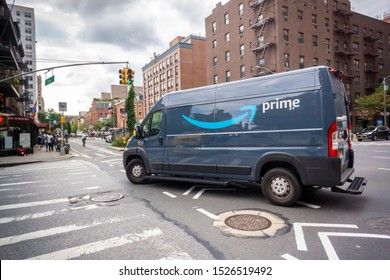 New York NY/USA-October 7, 2019 An Amazon delivery van in New York