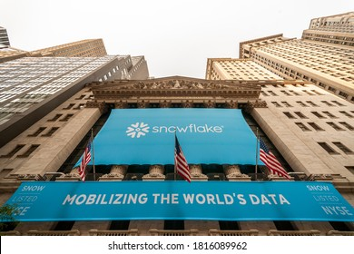 New York NY/USA-September 16, 2020 The New York Stock Exchange is decorated for the initial public offering of Snowflake.