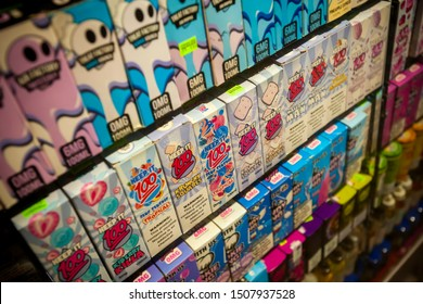 New york NY/USA-September 17, 2019 A selection of flavored vaping supplies on display in the window of a vaping store in New York