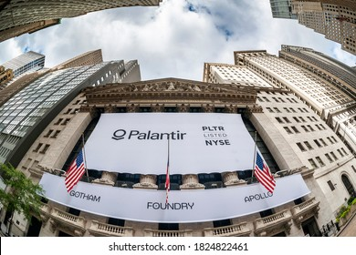 New York NY/USA-September 30, 2020 The New York Stock Exchange is decorated for the initial public offering of Palantir Technologies