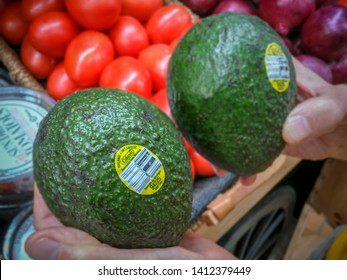 New York NY/USA-September 4, 2018 Calavo Growers branded Mexican avocados in a supermarket in New York