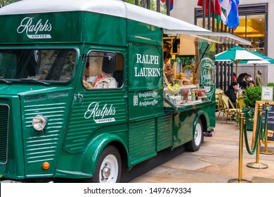 New York NY/USA-September 6, 2019 A Citro'n RalphÕs Coffee Truck is parked in Rockefeller Plaza in New York serving Ralph Lauren branded coffee