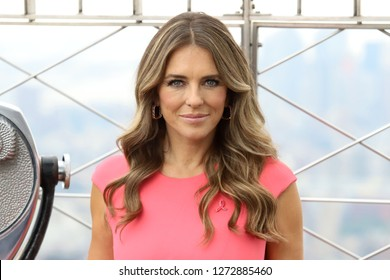 NEW YORK - OCT 1, 2018:  Elizabeth Hurley visits the Empire State Building on October 1, 2018 in New York City.