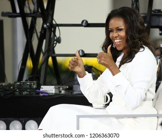 "NEW YORK - OCT 11, 2018: Michelle Obama participates in The International Day of The Girl celebration on the NBC ""Today"" show on October 11, 2018, in New York City."