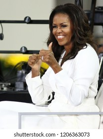 """NEW YORK - OCT 11, 2018: Michelle Obama participates in The International Day of The Girl celebration on the NBC """"Today"""" show on October 11, 2018, in New York City."""