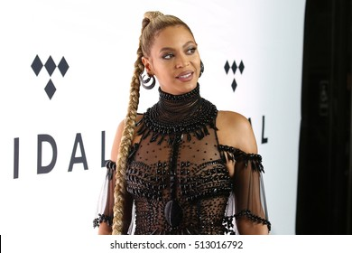 NEW YORK - OCT 15, 2016: Beyonce Knowles attends the TIDAL X: 1015 concert at the Barclays Center on October 15, 2016, in New York
