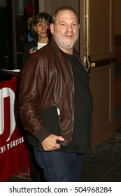 NEW YORK - OCT 17, 2016: Harvey Weinstein is seen arriving to a Hillary Clinton benefit event on October 17, 2016, in New York City.