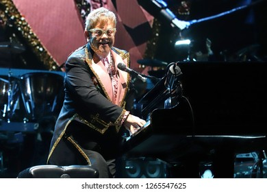 NEW YORK - OCT 18, 2018: Sir Elton John performs in concert at Madison Square Garden on October 18, 2018 in New York City.