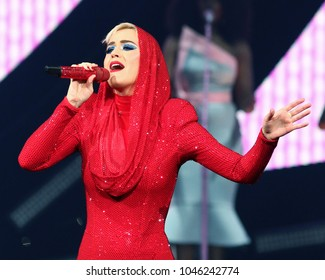 NEW YORK - OCT 2, 2017: Katy Perry performs in concert at Madison Square Garden on October 2, 2017, in New York.