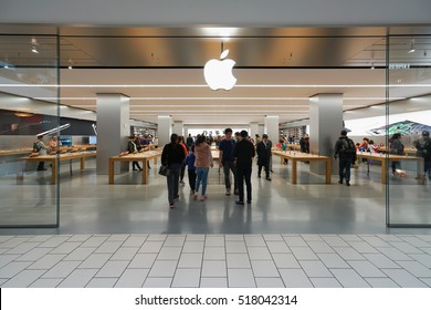 NEW YORK - OCT 22: Apple store at Queens Center on Oct 22, 2016 in Queens, New York, USA.