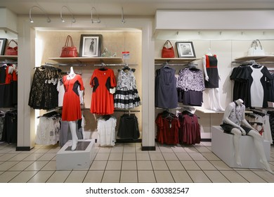 NEW YORK - OCT 22: Fashion display on mannequins at JC Penny in Queens Center on Oct 22, 2016 in Queens, New York, USA.
