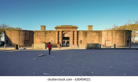 NEW YORK - OCT 23: Castle Clintion National Monument at Battery Park on Oct 23, 2016 in Manhattan, New York, USA.
